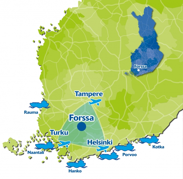 Southern Finland with Forssa and major cities, airports and harbours